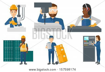 Port worker talking on wireless radio. Port worker standing on cargo containers background. Port worker using wireless radio. Set of vector flat design illustrations isolated on white background.