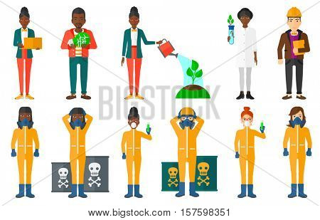 Scientist in radiation protective suit and respirator holding test tube. Scientist in radiation protective suit clutching his head. Set of vector flat design illustrations isolated on white background
