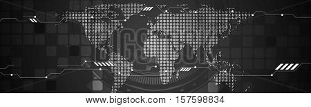 Abstract technology concept black web header design. Vector header template with dotted world map, gears and squares. Banner illustration