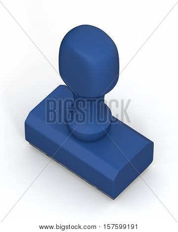 Isolated new blue plastic rubber stamps on white background. Office mockup. 3D Illustration.