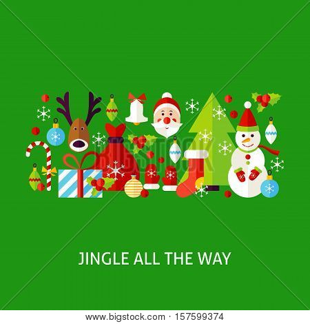 Jingle All The Way Greeting. Poster Design Vector Illustration. Set of Merry Christmas Objects.