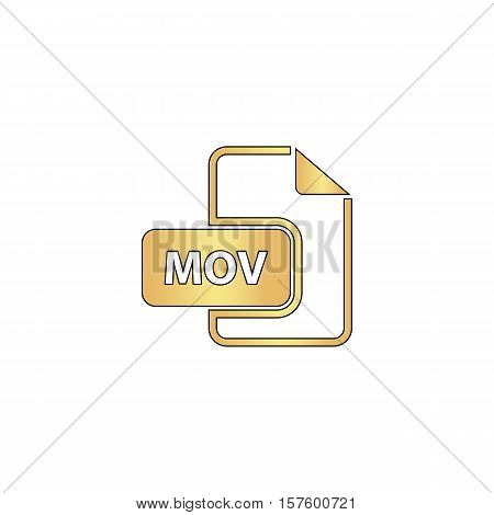 MOV Gold vector icon with black contour line. Flat computer symbol