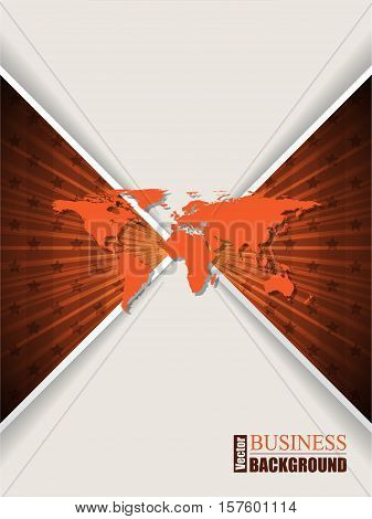 Abstract orange brochure design with stripes stars and world map