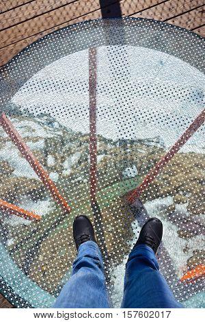 Glass floor - viewpoint at mountains ski resort Bad Gastein Austria