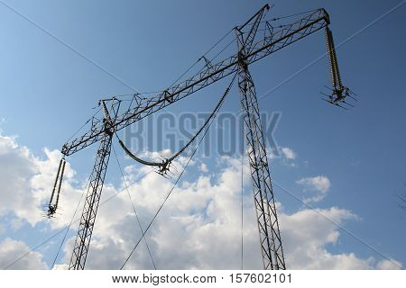 Power transmission line s on the square of VVC, Moscow