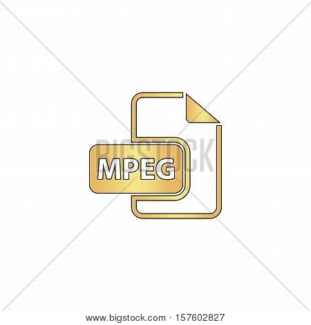 MPEG Gold vector icon with black contour line. Flat computer symbol