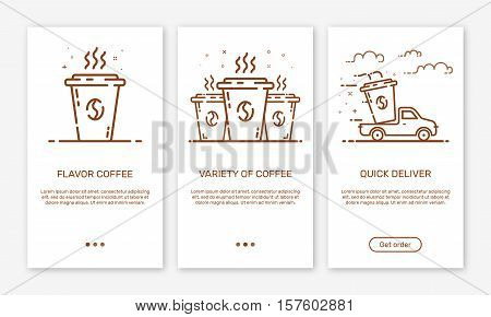 Vector Illustration of onboarding app screens and outline web concept coffee delivery service for mobile apps . Modern brown interface UX, UI GUI screen template for smart phone or web site banners.
