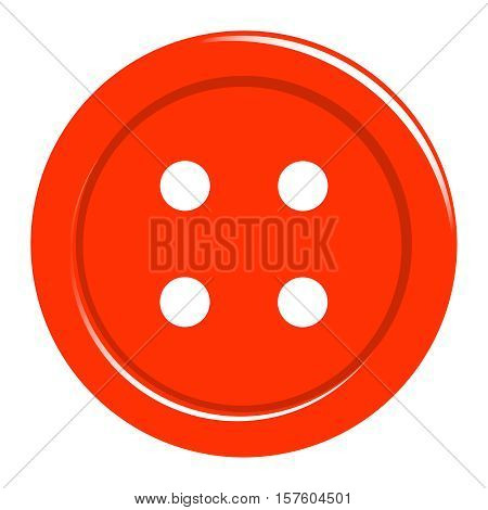 Simple sewing button icon isolated on white. Background for textile, web, paper print, card and other design. Vector illustration.