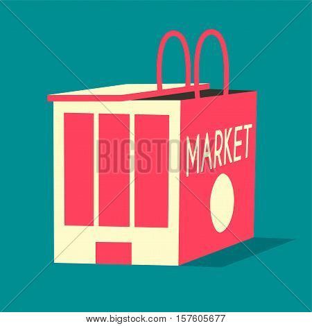 Online shopping and e-commerce concept. Vector flat illustration. Isolated on background. Metaphor. Market and shopping bag