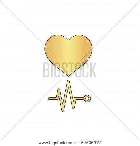 cardiogram Gold vector icon with black contour line. Flat computer symbol
