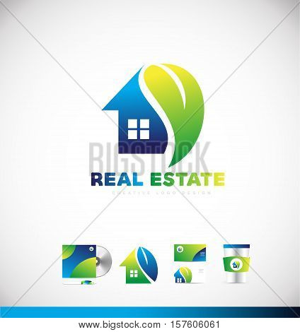 Real estate ecological home house vector logo icon sign design template corporate identity