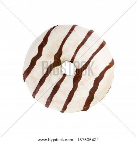 Chocolate Donut Isolated On White Background.