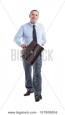 portrait in full height, smiling a qualified accountant in a shi
