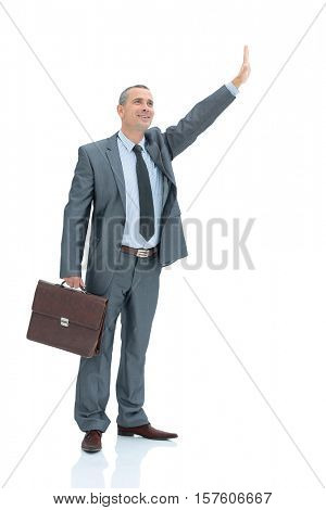 qualified lawyer in a business suit with a briefcase raised his