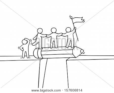 Cartoon working little people near abyss. Doodle cute miniature scene of team on the bridge like pencil. Hand drawn vector illustration for business design and infographic.