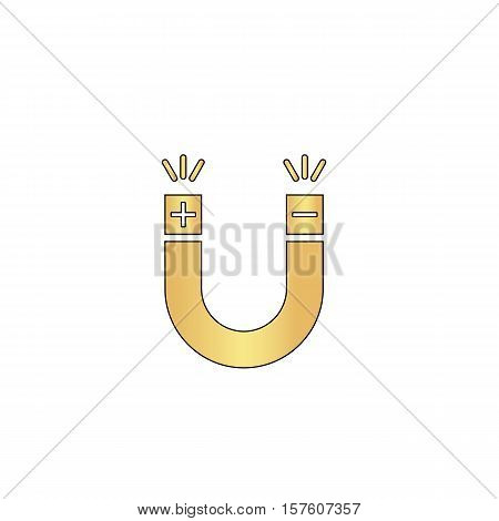 Magnet Gold vector icon with black contour line. Flat computer symbol