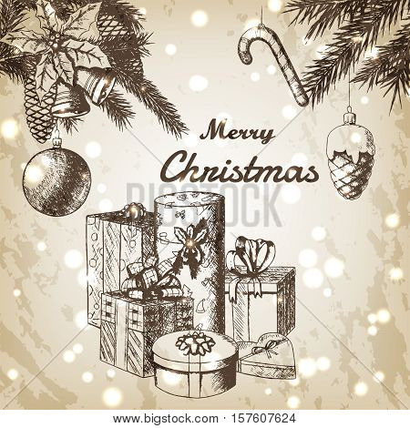 Christmas or New year hand drawn vector illustration. Fir branches with ornaments and gift boxes sketch, vintage style. Brown grunge paper background with snow.