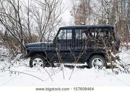 Smolensk, Russia - November 13, 2016: UAZ HUNTER legendary russian off-road auto parked in the winter forest.