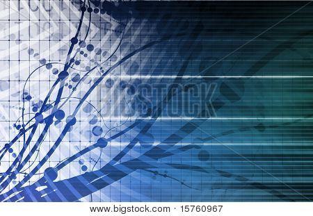 Futuristic Background in Web Tech Glowing Lines poster