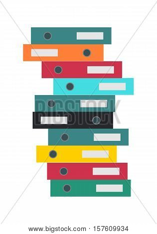Stack of folders isolated on white. Large number of business documents. Colorful document cases. Paper work, office routine, bureaucracy concept. Flat design. Data, mailing, management services.