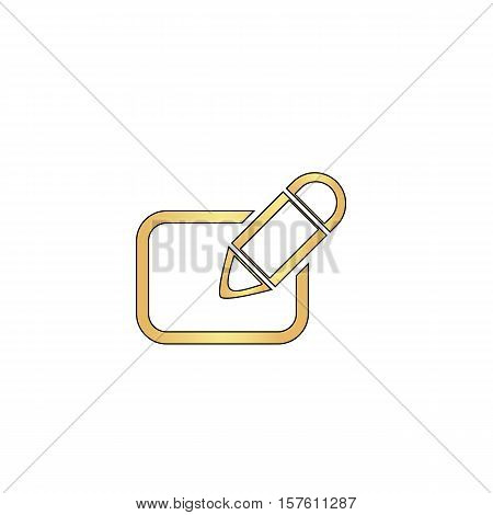 Registration Gold vector icon with black contour line. Flat computer symbol