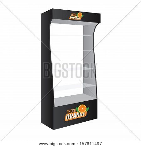 POS POI Cardboard Glass Floor Display Rack For Supermarket. Vector Blank Empty Displays Glass Shelves for Products with Background Isolated. Ready For Your Design. Product Packing.