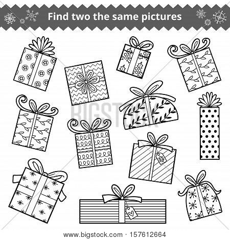 Find Two The Same Pictures, Set Of Christmas Gifts