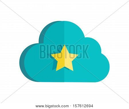 Cloud storage web button isolated. Ready sign. Flat style design. Online storage symbol icon. Cloud computing, backup, data network internet web connection. Saving information. Vector illustration