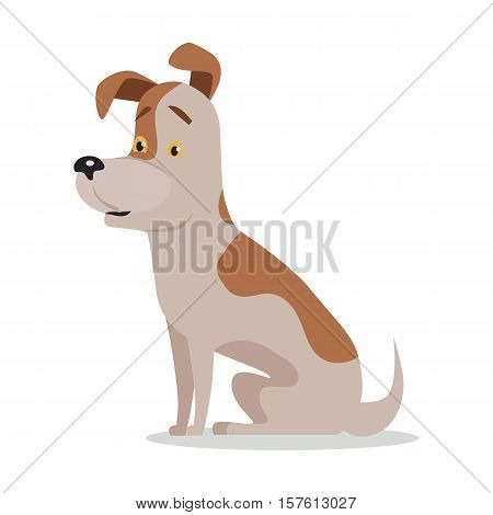 Jack Russell Terrier dog breed isolated on white. Parson Russell Terrier. Sturdy, tough, and tenacious working dog. Cartoon puppy. Home pet. Child fun pattern icon. Vector illustration