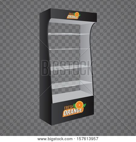 POS POI Cardboard Glass Floor Display Rack For Supermarket. Vector Blank Empty Displays Glass Shelves for Products with Background Isolated. Ready For Your Design. Product Packing. poster