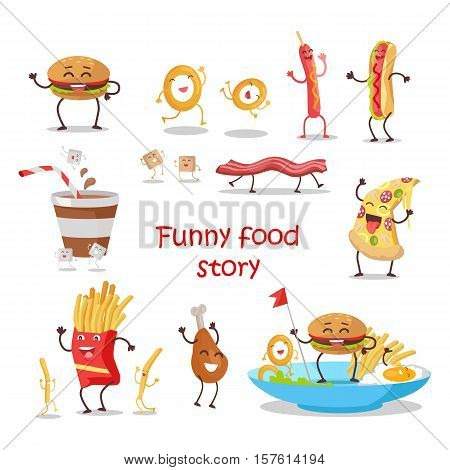 Set of fast food products for restaurant menu illustrating, diet concept. Smiling and dancing pizza, hotdog, chicken, hamburger, french fries, bacon, egg, onion ring, coffee, sugar flat vectors