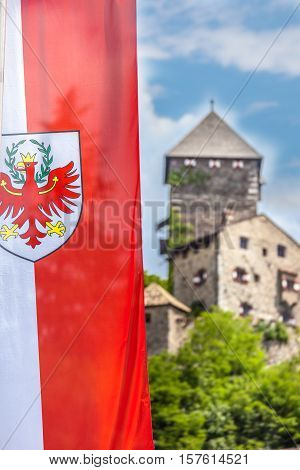 Flag Of South Tyrol And Castle In Chiusa