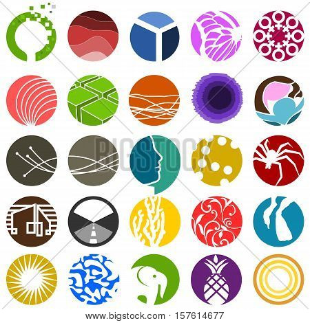 Set of 25 various abstract circle icons