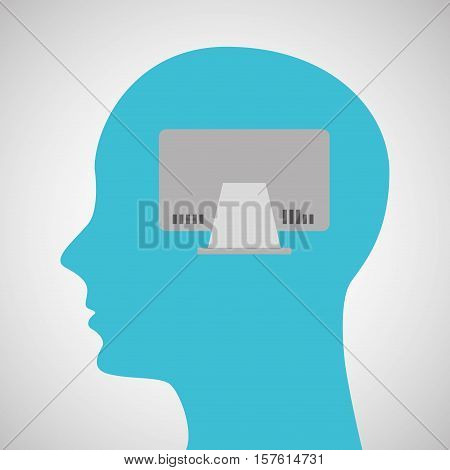 silhouette profile business computer concept vector illustration eps 10
