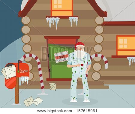 Sleepy Santa with coffee outside the house. It's time to get ready for Santa in his pajamas with Christmas trees.