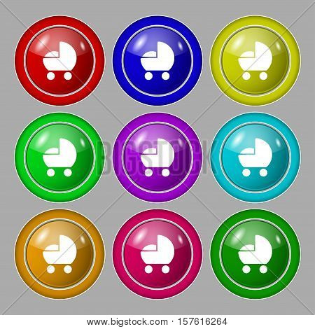 Baby Pram Icon Sign. Symbol On Nine Round Colourful Buttons. Vector