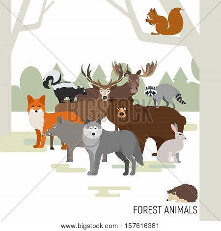 Forest animals vector. Moose, wild boar, bear, fox, rabbit wolf skunk raccoon deer squirrel hedgehog