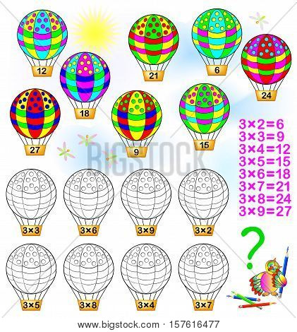 Exercise for children with multiplication by three. Solve examples and paint each balloon in relevant color. Developing skills for counting and multiplication. Vector image.