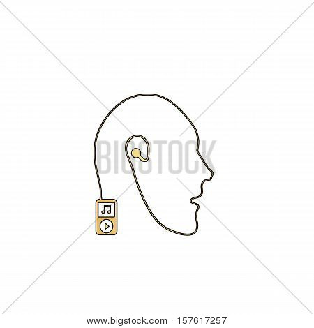 Favorite music Gold vector icon with black contour line. Flat computer symbol