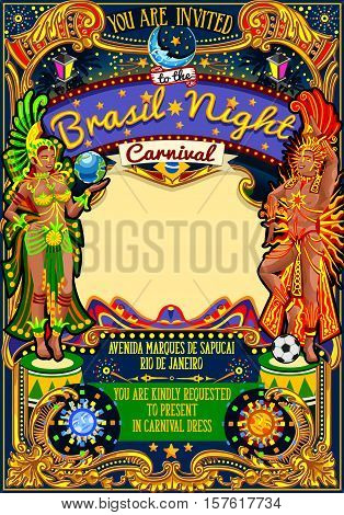 Rio Carnaval festival poster illustration. Brazil night Show Carnival Party Parade masquerade invitation card template. Latin dance event with samba or salsa dancer theme. Carnival mask vector symbol