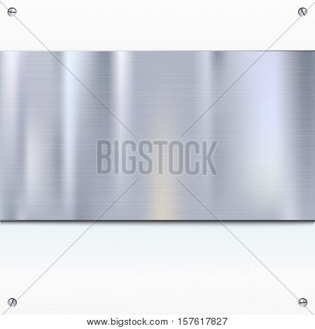 Shiny brushed metal plate with screws. Stainless steel banner on white background, vector illustration for you