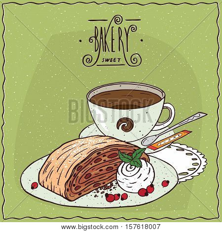 Apple Viennese Strudel With Cup Of Tea