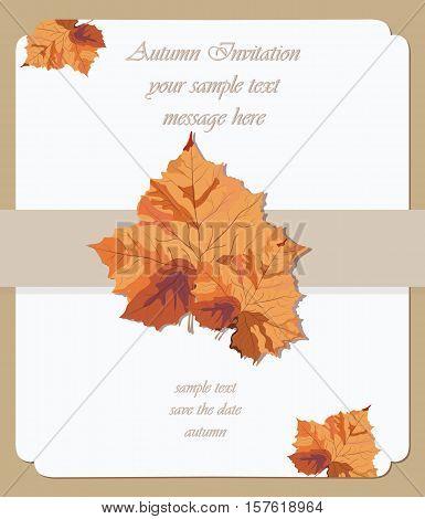 Autumn maple leaves card. Vector Invitation background. Fall season Vintage decor