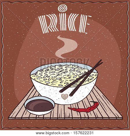 Asian Rice Dal Bhat Or Nasi Kandar In Bowl
