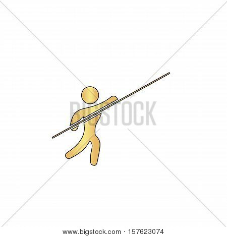 Pole vault Gold vector icon with black contour line. Flat computer symbol