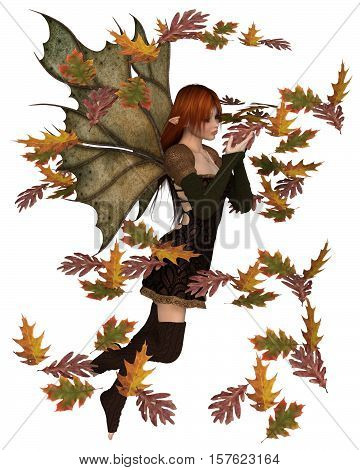 Fantasy illustration of a autumn fairy dressed in brown with red hair and leaf wings, playing with scattered swirling leaves, digital illustration (3d rendering)