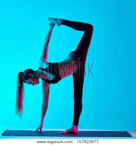 woman yoga exercices Ardha Chandrasana half moon