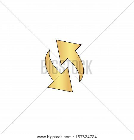 reload Gold vector icon with black contour line. Flat computer symbol