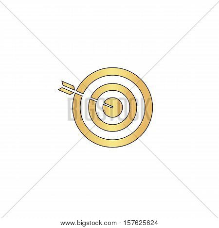 bullseye Gold vector icon with black contour line. Flat computer symbol