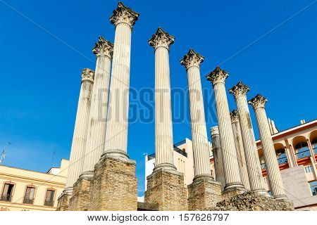 Ancient Roman columns on the excavation of a Roman temple in Cordoba.